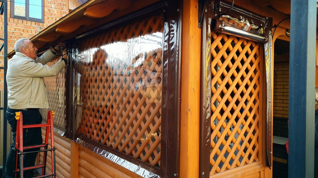 прозрачные шторы на замках